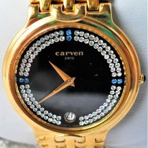 90's Carven Paris 18K Gold Diamond/Sapphire Watch